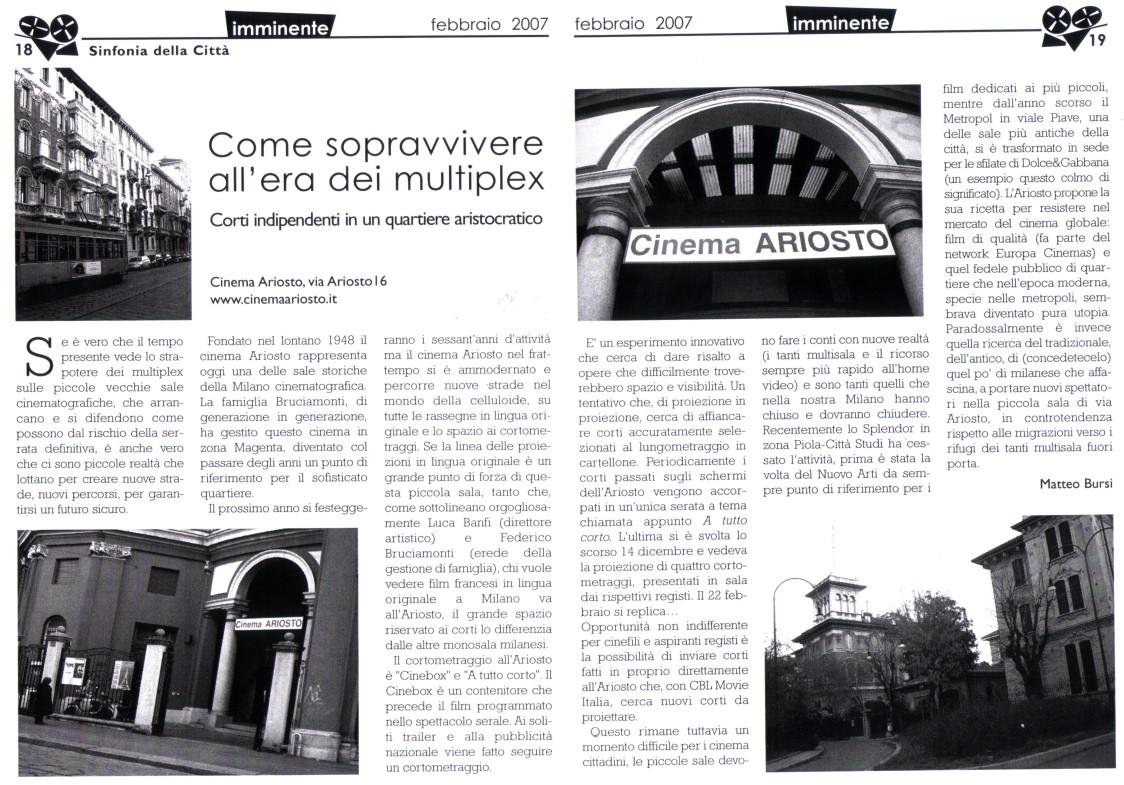 Piccole Sale Cinematografiche : Cinema ariosto